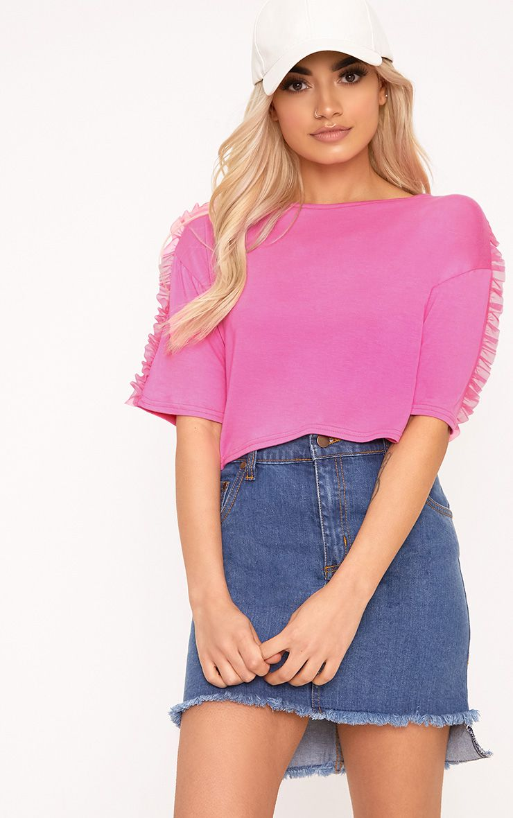 Hot Pink Mesh Tulle Frill T Shirt