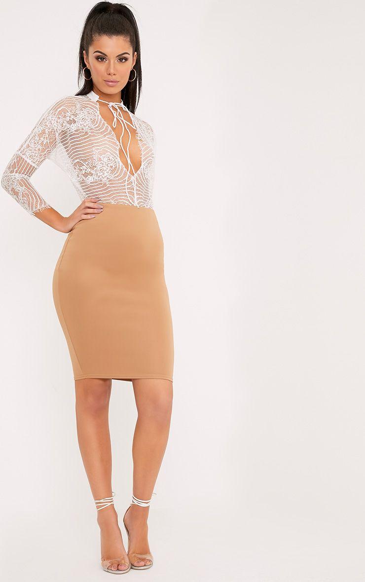 Winnie Camel Scuba Midi Skirt
