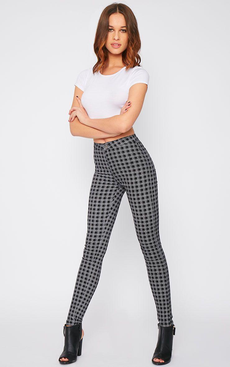 Rhosyn Monochrome Square Print High Waist Skinny Jean  1