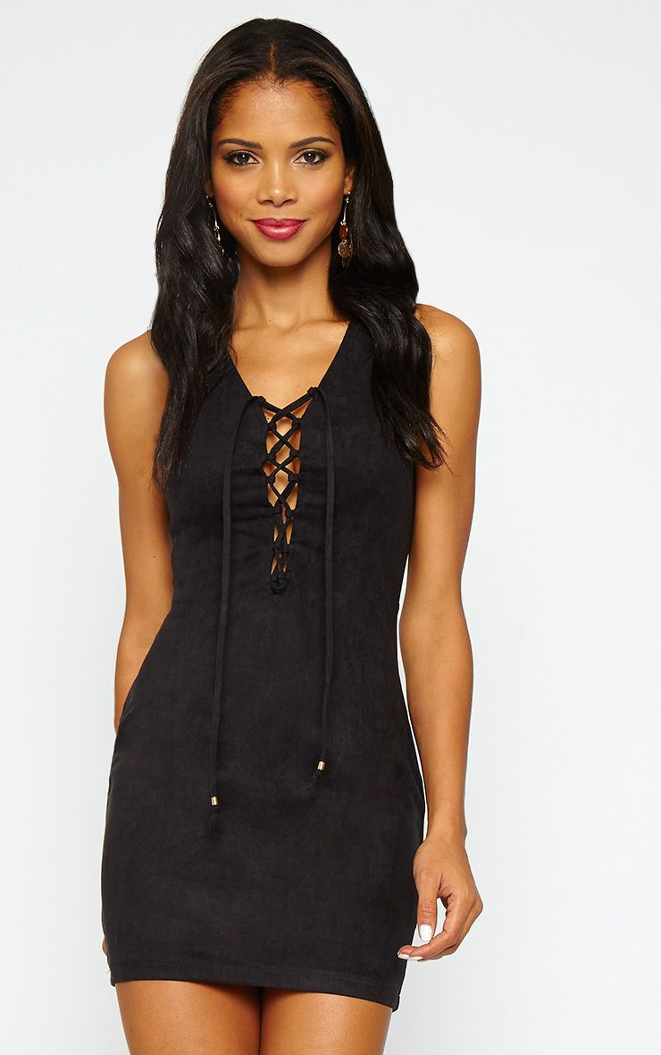 Taina Black Suede Lace Up Mini Dress 1