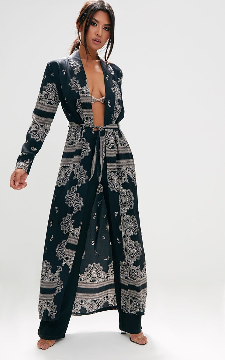 Black Silky Paisley Duster Coat