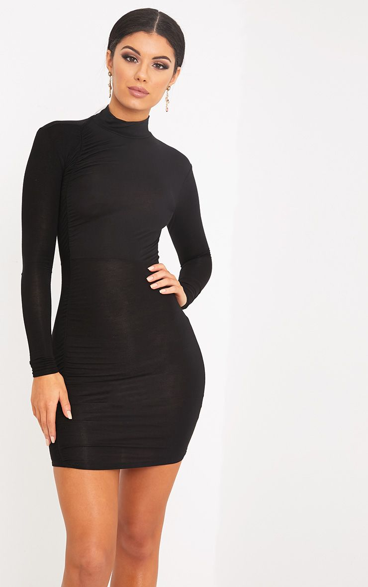 Moana Black Ruched Detail Bodycon Dress