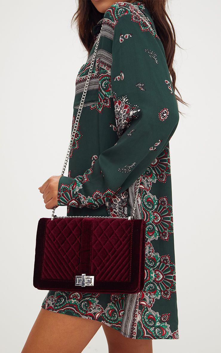 Burgundy Velvet Quilted Shoulder Bag
