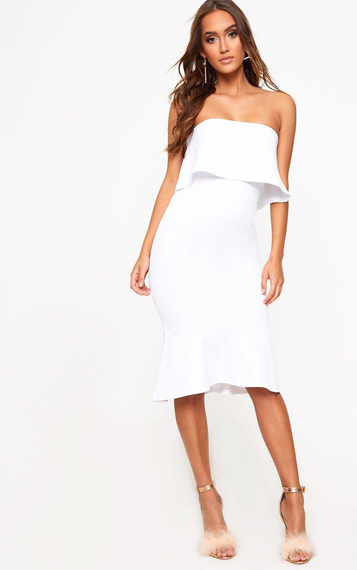 White Bandeau Frill Hem Midi Dress