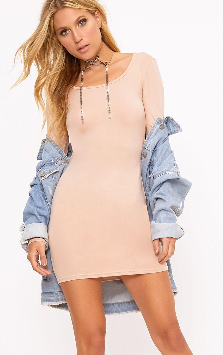 nude long sleeve bodycon dress dresses