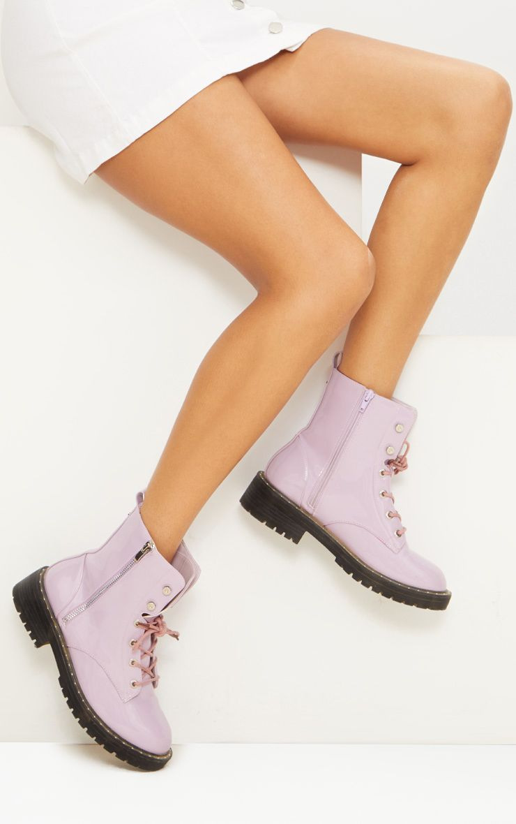 Lilac Chunky Lace Up Boot