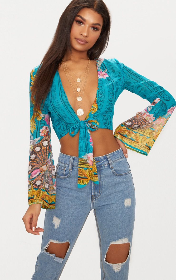 Green Sheer Print Knot Front Flare Sleeve Blouse