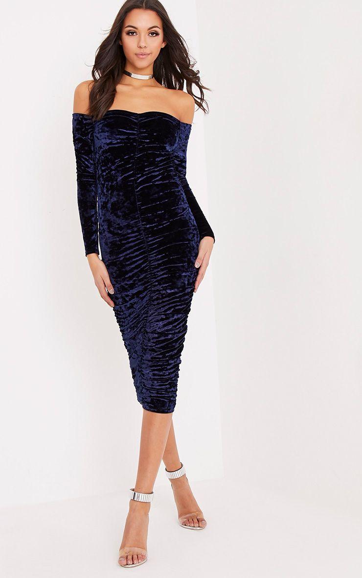 Effie Navy Bardot Ruched Midi Dress