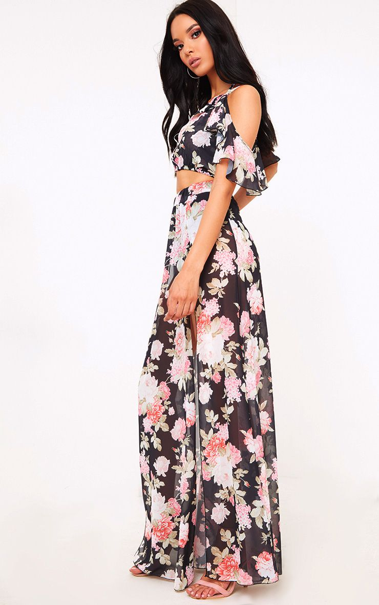 Black Floral Floaty Side Split Maxi Skirt