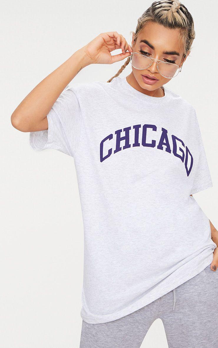 Ash Grey Chicago Slogan Oversized T Shirt