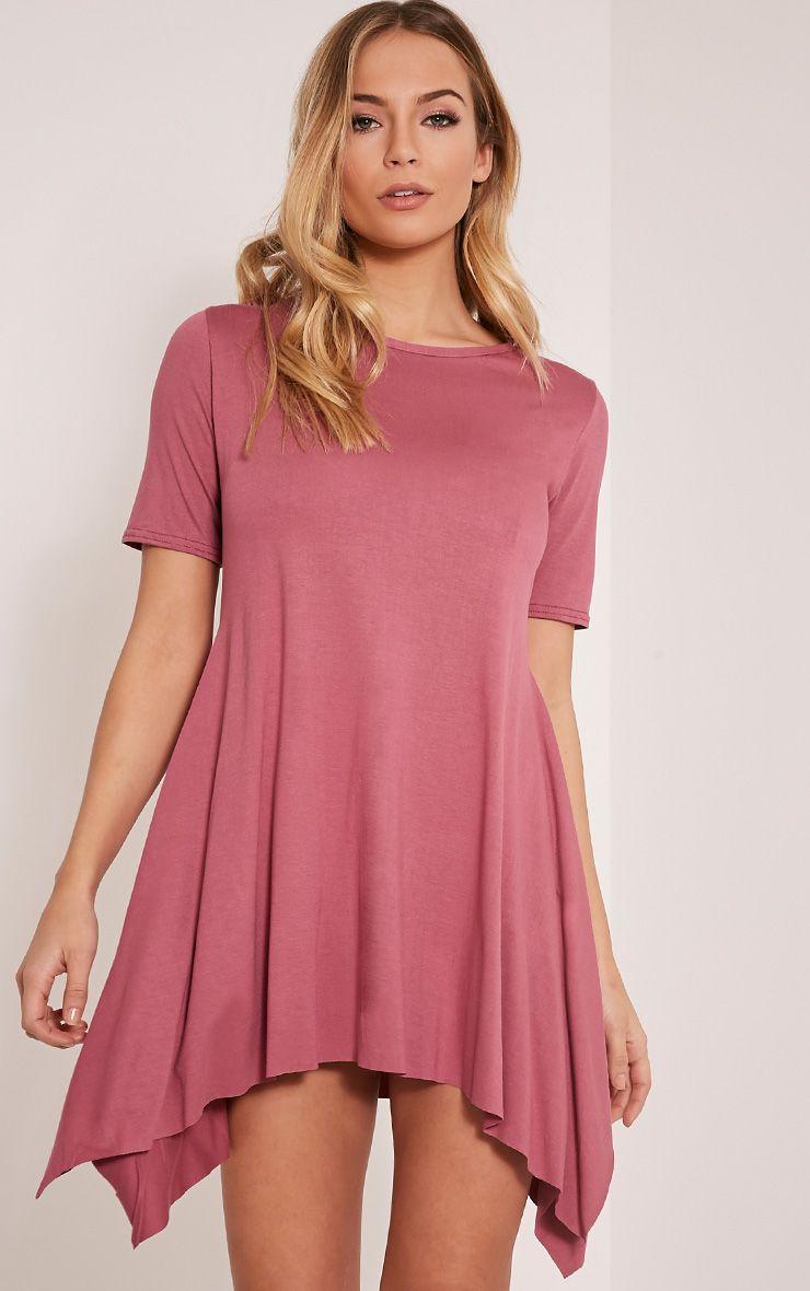 Trudi Rose Raw Edge Asymmetric  Hem Dress 1