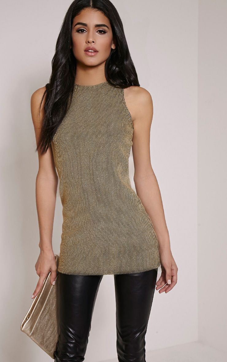 Zeena Gold Metallic Ribbed Shift Top 1
