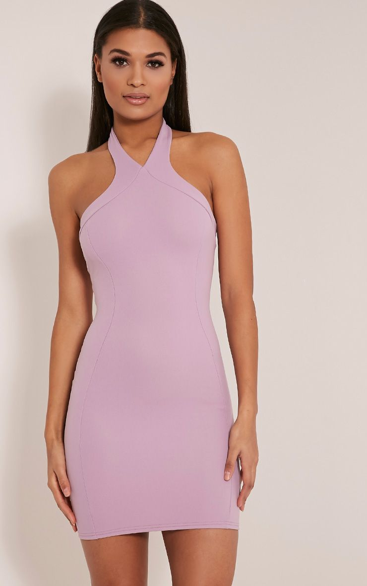 Kathy Mauve Halterneck Crepe Bodycon Dress 1