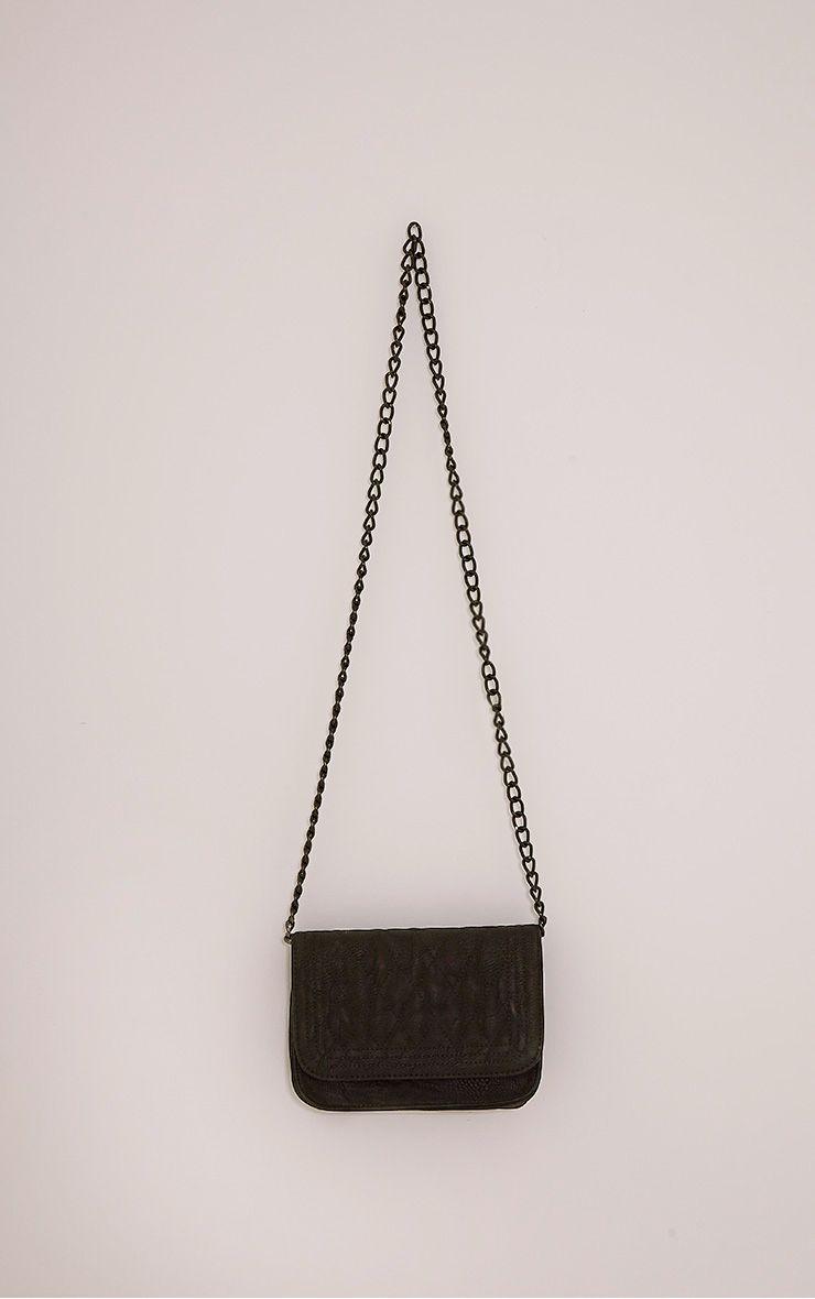 Emma Black Quilted Chain Strap Shoulder Bag Black