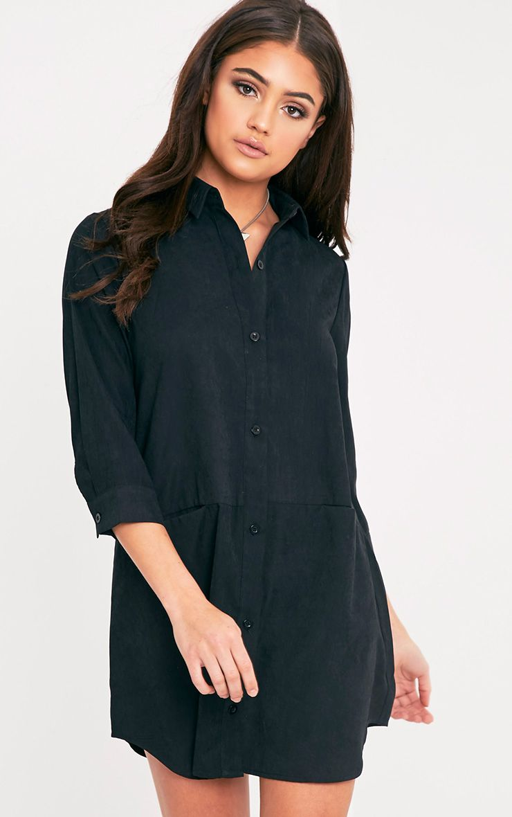 Marnie Black Pocket Detail Shirt Dress