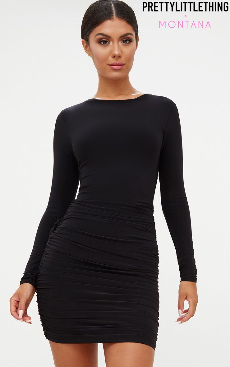 Black Long Sleeve Ruched Open Back Bodycon Dress