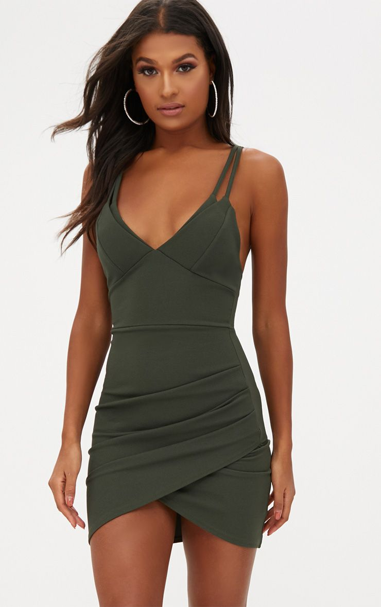 Khaki Double Strap Wrap Skirt Bodycon Dress