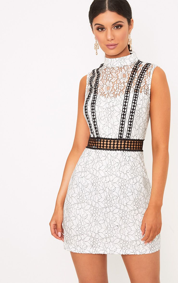 Daphnie White Lace High Neck Sleeveless Shift Dress