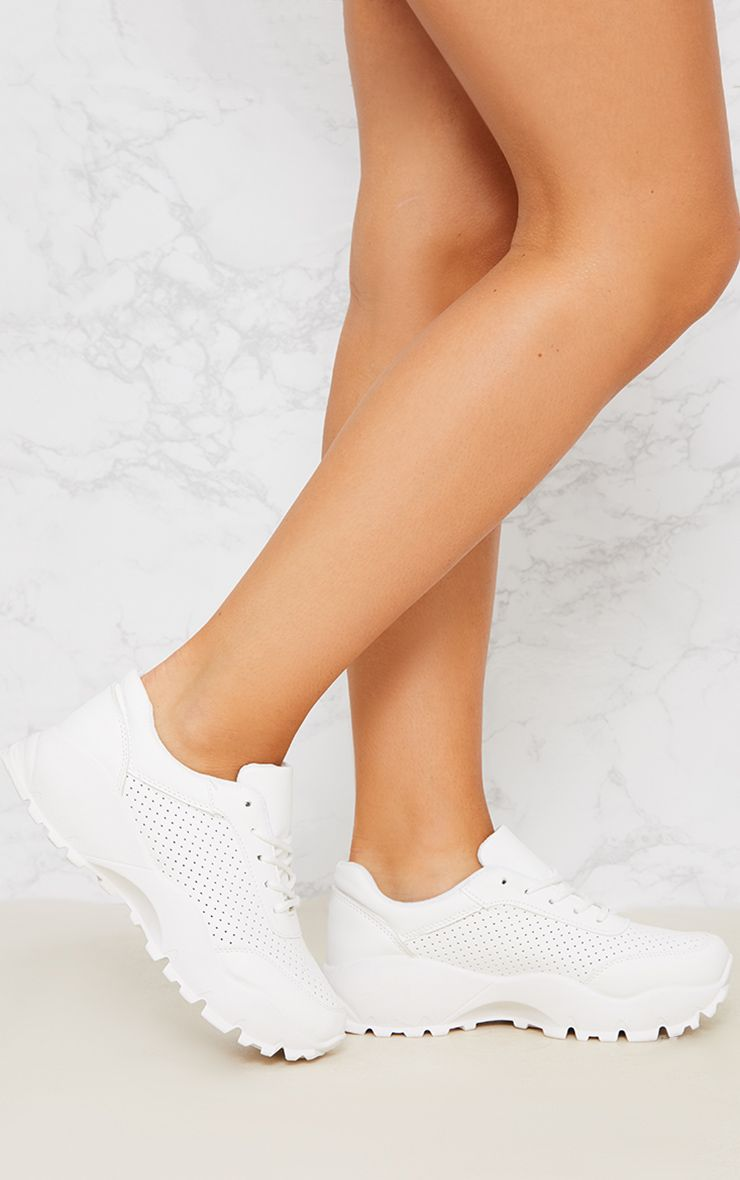 White Chunky Lace Up Trainer