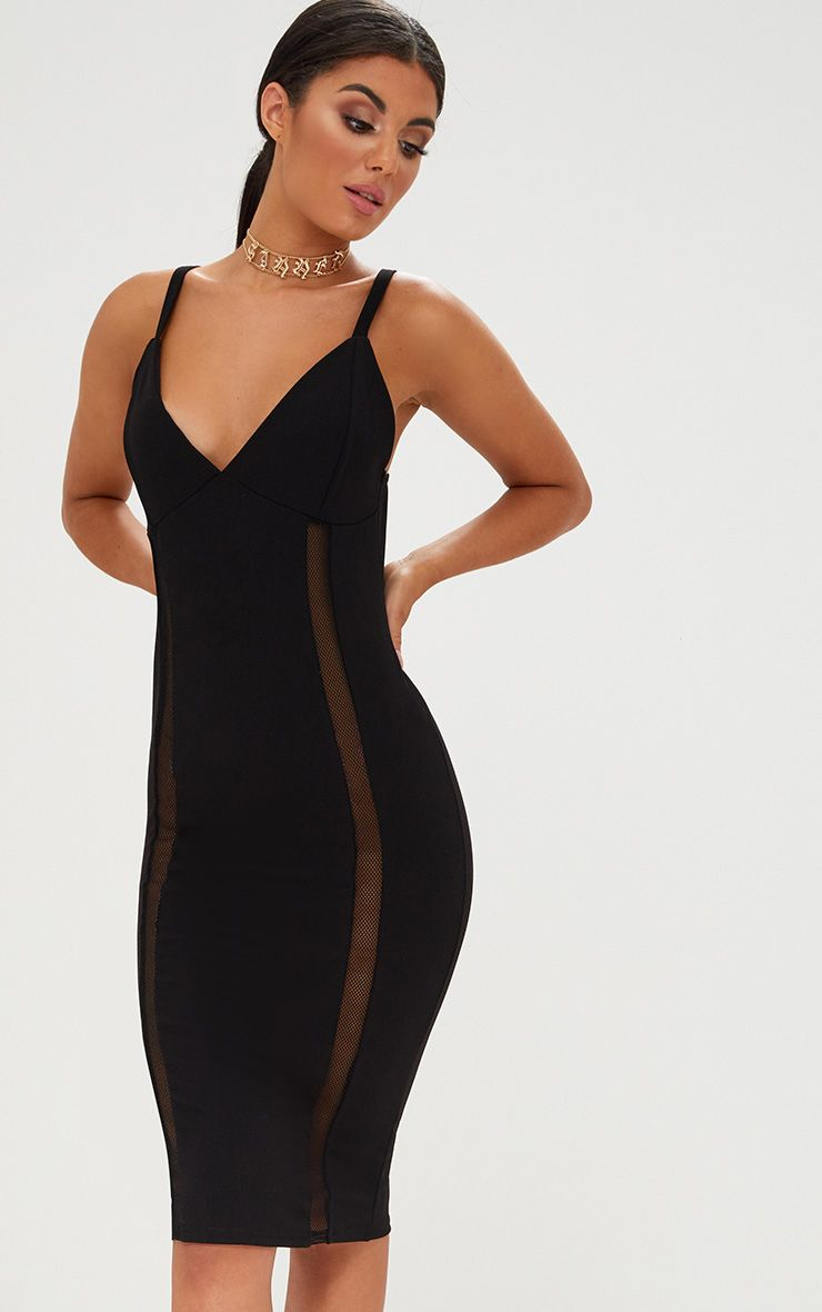 Black Strappy Fishnet Panel Midi Dress