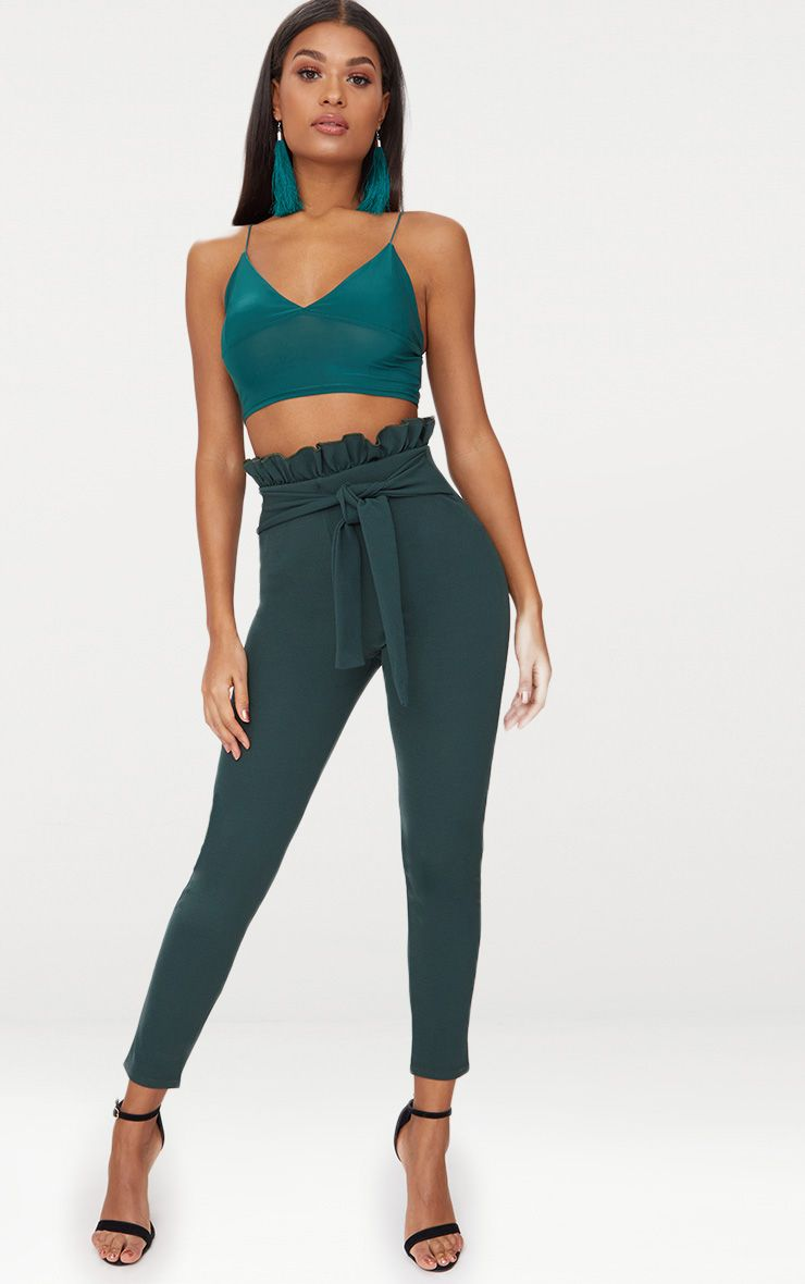Emerald Green Paperbag Waist Skinny Trousers