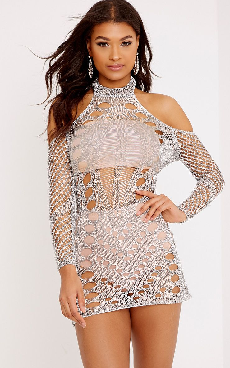 Penn Silver Metallic Cobweb Knit Mini Dress