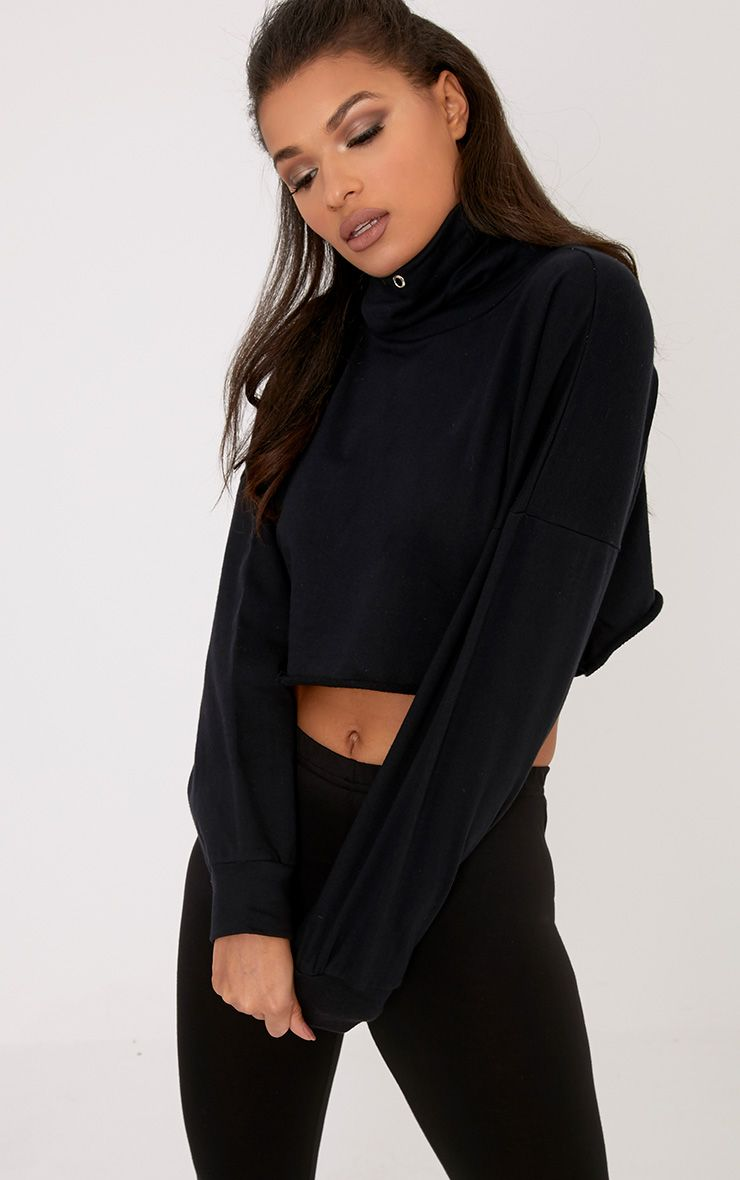 Cailin Black Funnel Neck Sweater