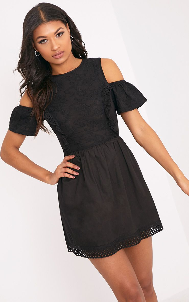 Ameliah Black Cold Shoulder Crochet Swing Dress