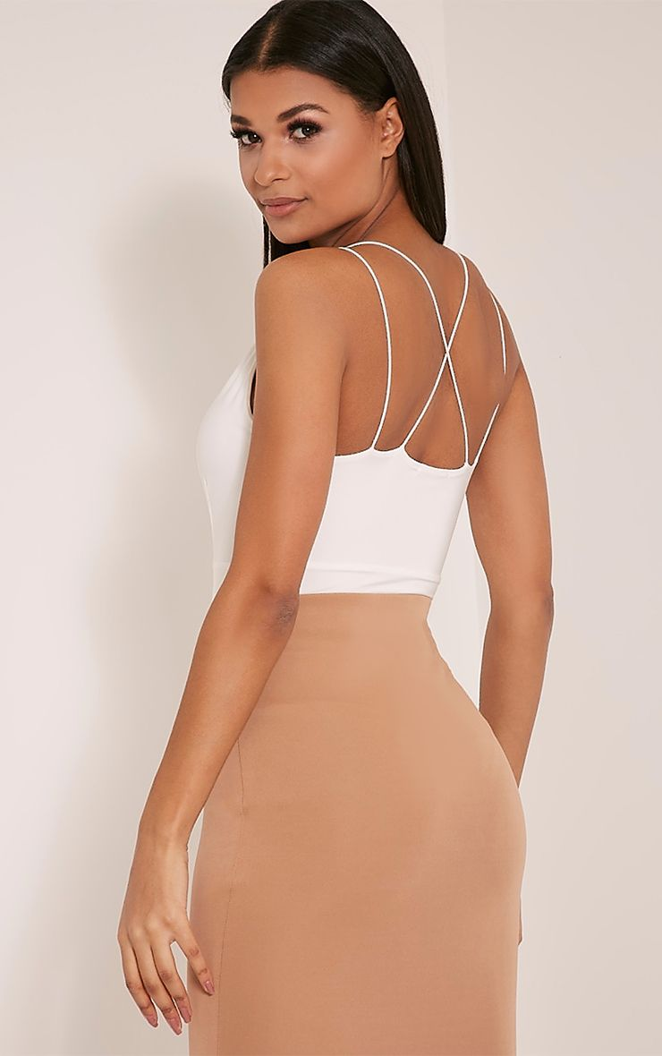 Angela Cream Cross Back Slinky Bodysuit 1