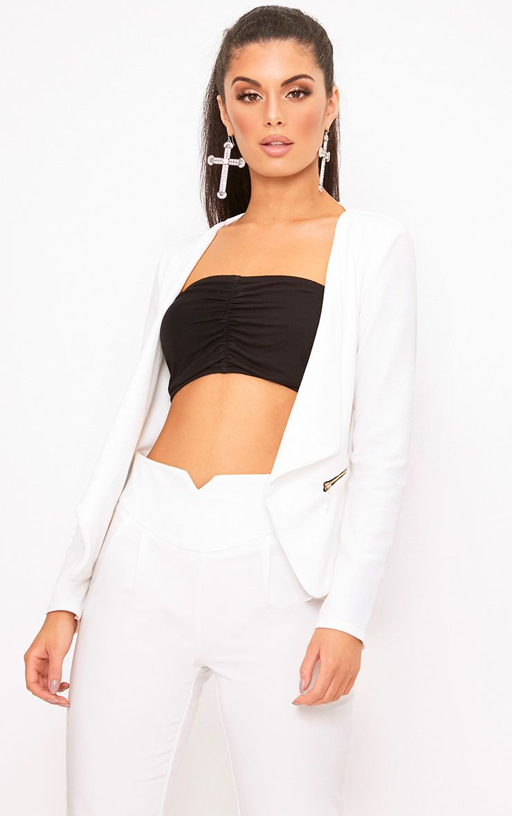 White Zip Pocket Blazer