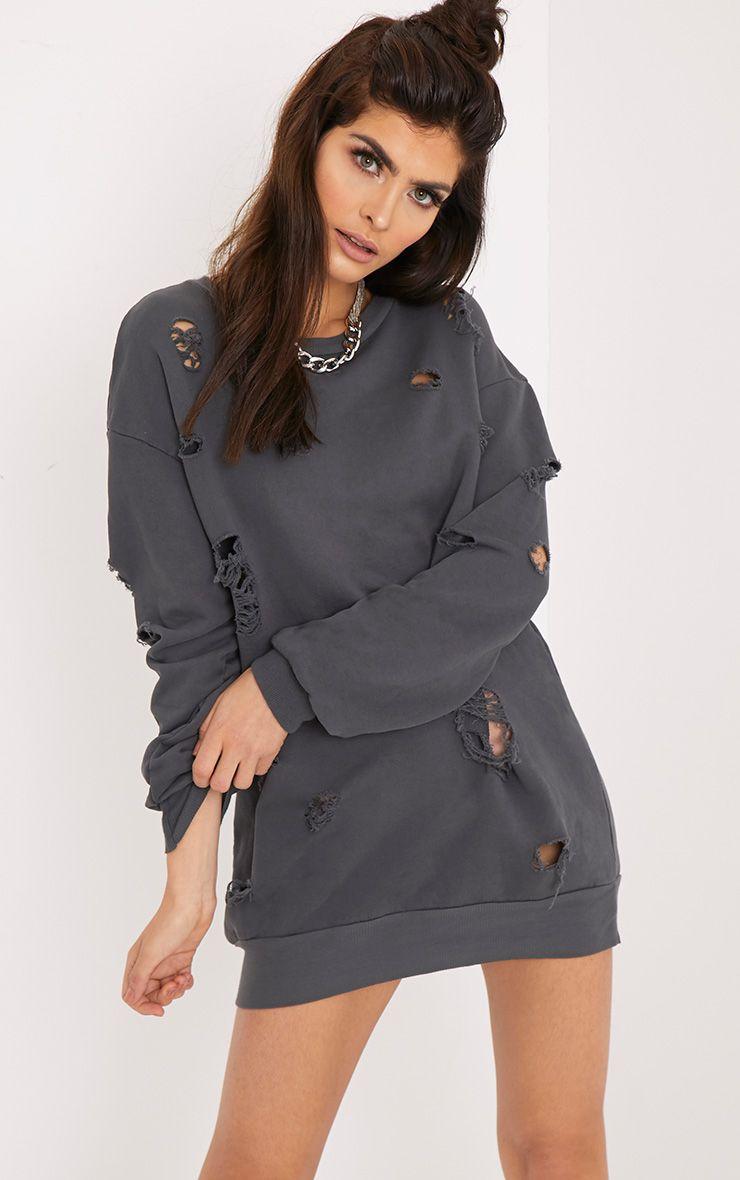 Kynarr Charcoal Distressed Jumper Dress Grey