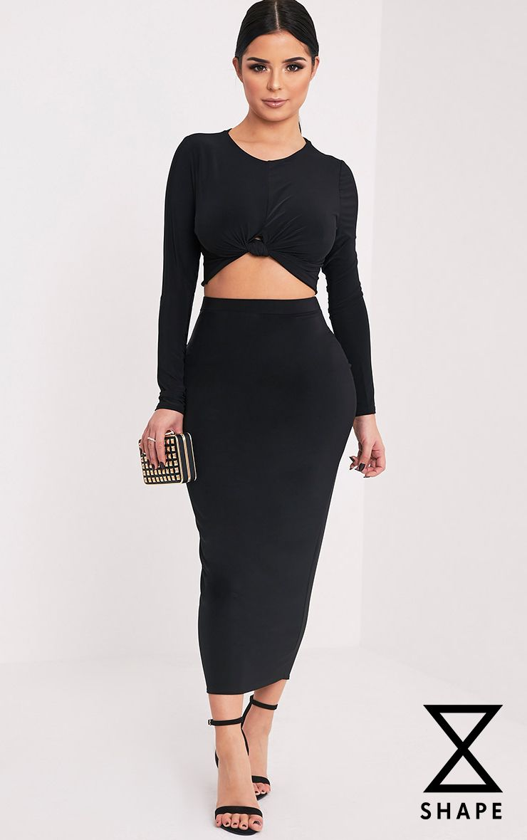 Shape Francisca Black Slinky Midi Skirt  1