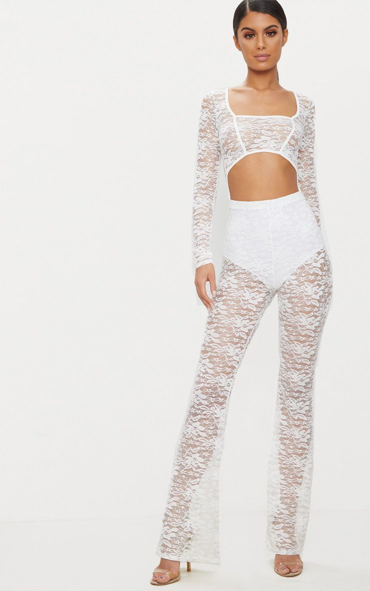White Lace Long Sleeve Binded Jumpsuit