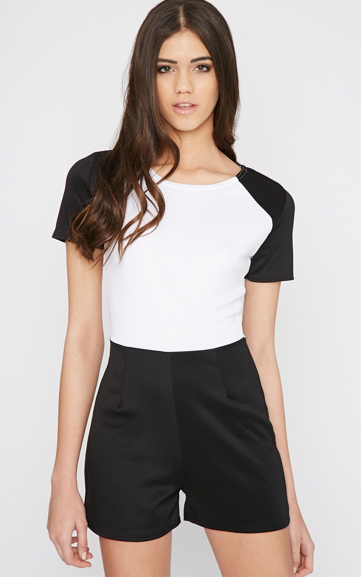 Sandra Black Colour Block Playsuit  1