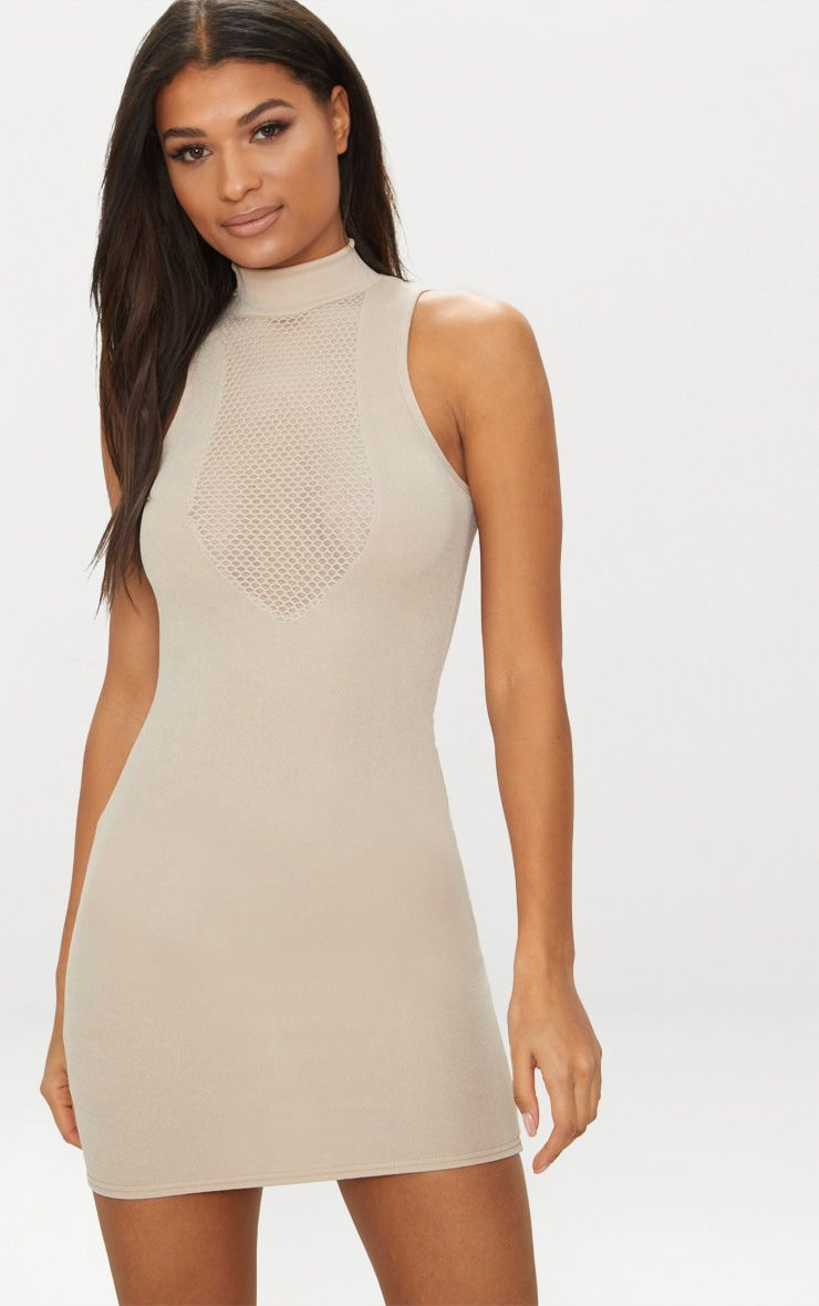 nude high neck mesh top bodycon dress, pink