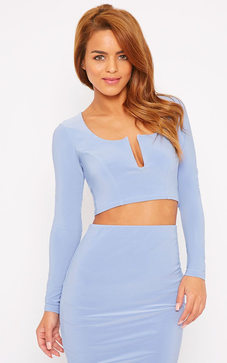 Bessie Powder Blue Slinky Sweetheart Plunge Crop Top 1