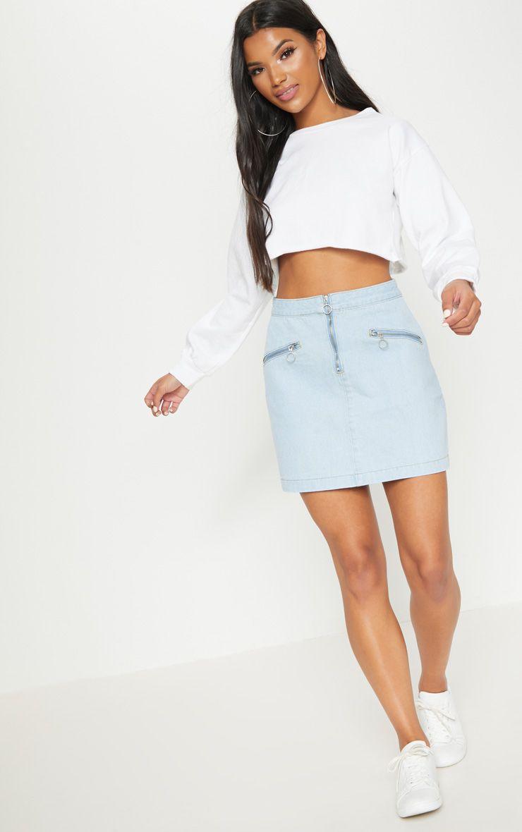 Bleach Wash Ring Pull Denim Mini Skirt
