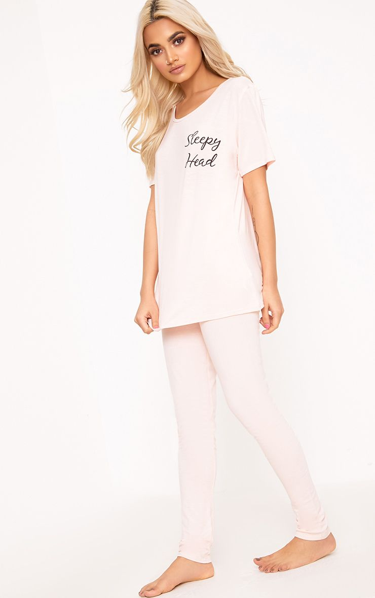 Nude Sleepy Head Slogan PJ Set