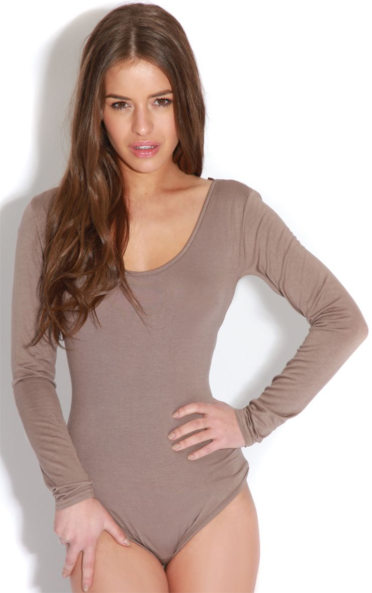 Maryana Mocha Long Sleeve Bodysuit  1