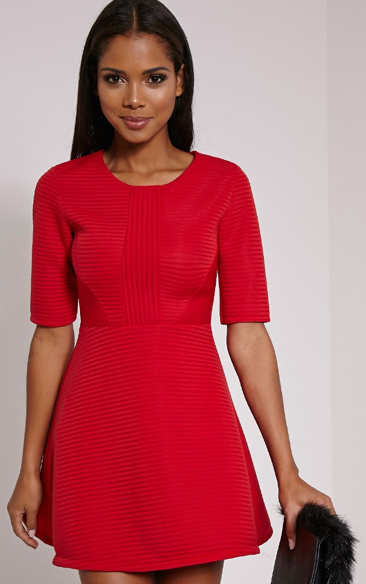 Bella Red Structured Skater Dress 1