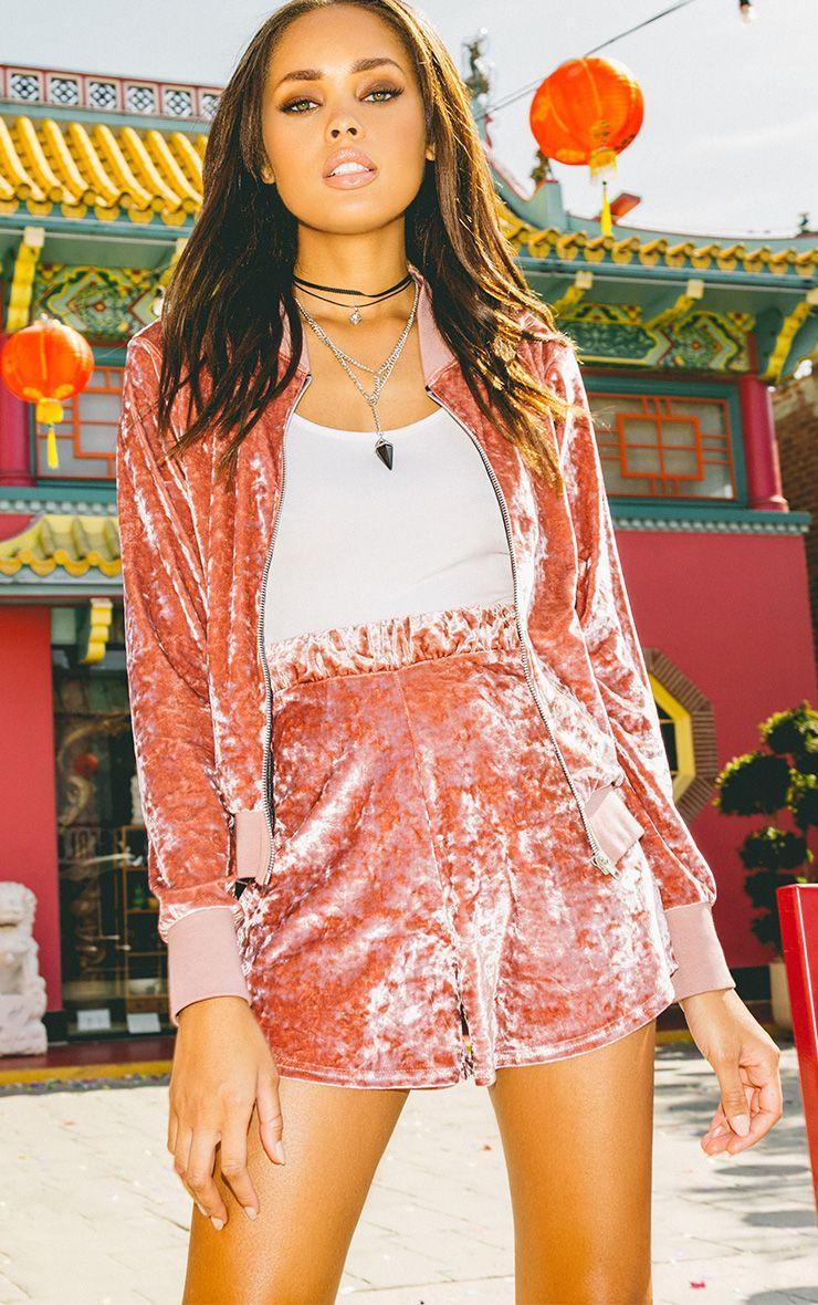 Ayisha Pink Crushed Velvet Runner Shorts
