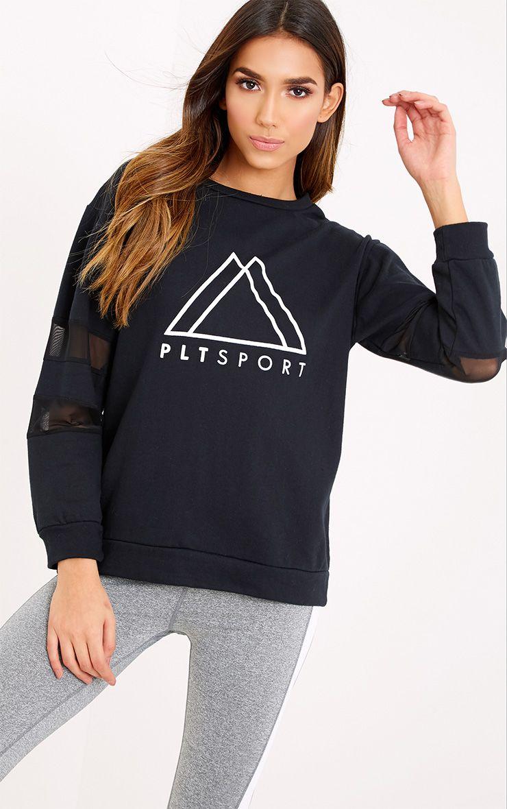 PLT Black Sport Loop Back Mesh Insert Sweatshirt