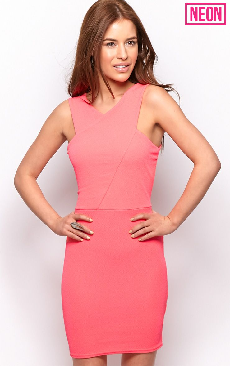 Allina Neon Pink V Detail Dress 1