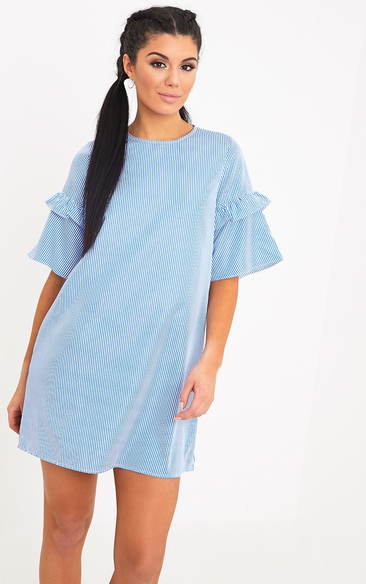 Gracey Striped Short Sleeve Frill Detail Shift Dress Blue