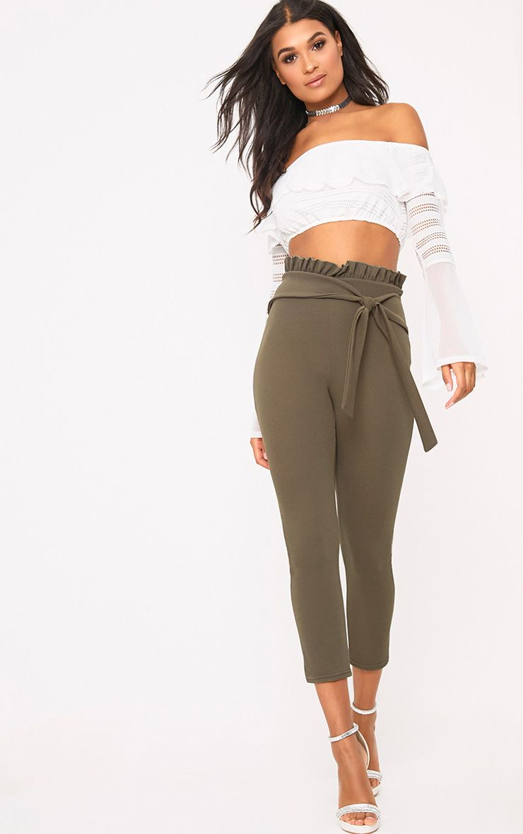 Khaki Paper Bag Skinny Trousers