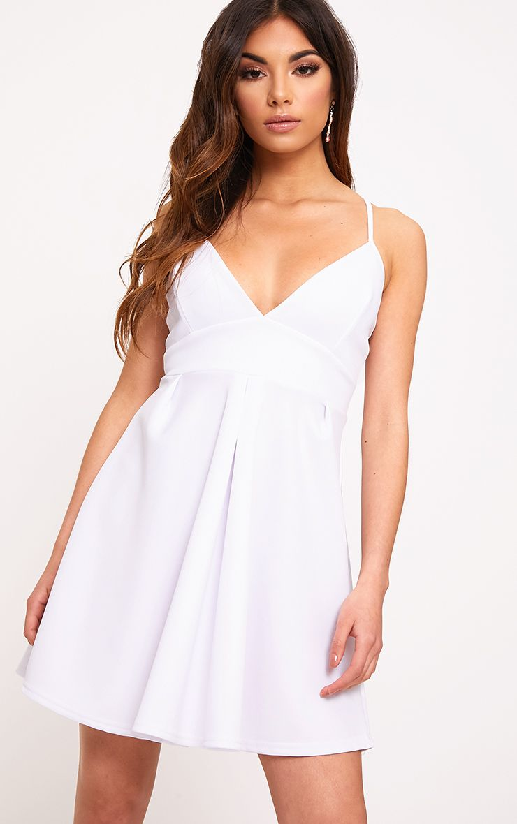 White Strappy Skater Dress