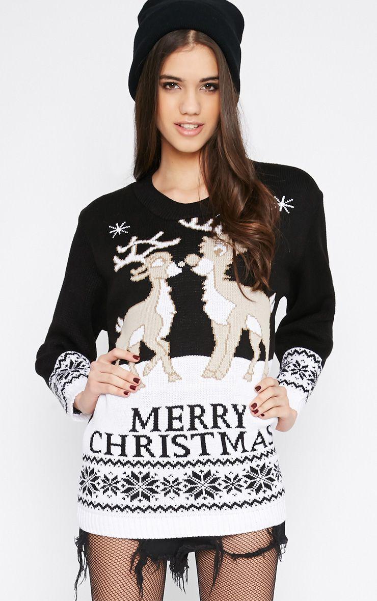 Shae Black Merry Christmas Reindeer Jumper 1