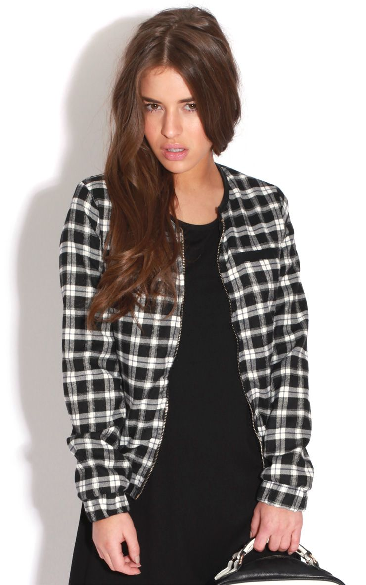 Catalina Monochrome Check Bomber Jacket 1