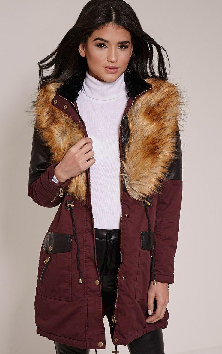 Elanor Wine PU Panel Fur Collar Parka Jacket 1