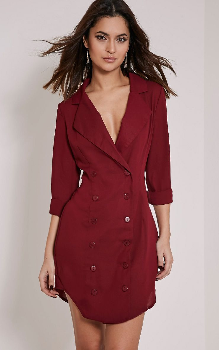 Lucah Burgundy Double Breasted Blazer Dress 1